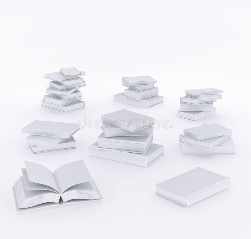 Ensemble réaliste de 3d ouvert et de livres fermés avec l'illustration d'isolement par couverture blanche vide illustration libre de droits
