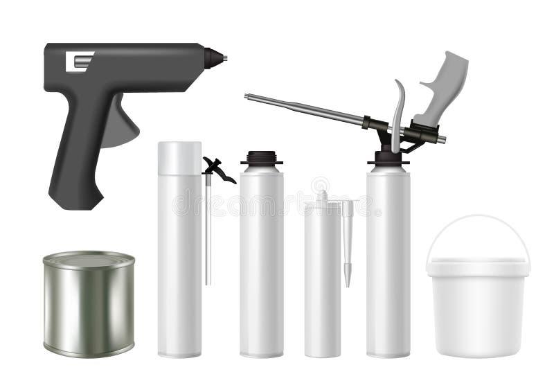Ensemble réaliste de maquette de vecteur d'emballage d'outils de bâtiment et de matériau de construction illustration de vecteur