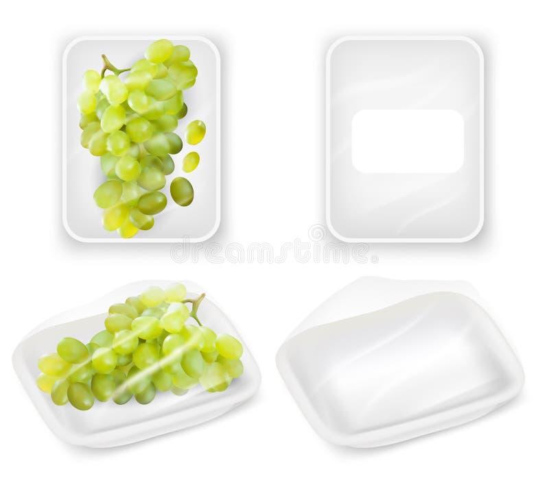 Ensemble réaliste de maquette de vecteur d'emballage de plateau de raisins illustration de vecteur