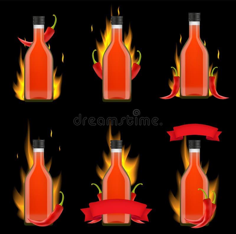 Ensemble réaliste de maquette de vecteur de paquet de bouteille de sauce à Tabasco illustration stock