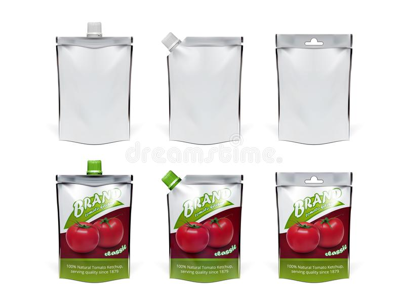 Ensemble réaliste de paquet de Doypack de ketchup de tomate illustration libre de droits