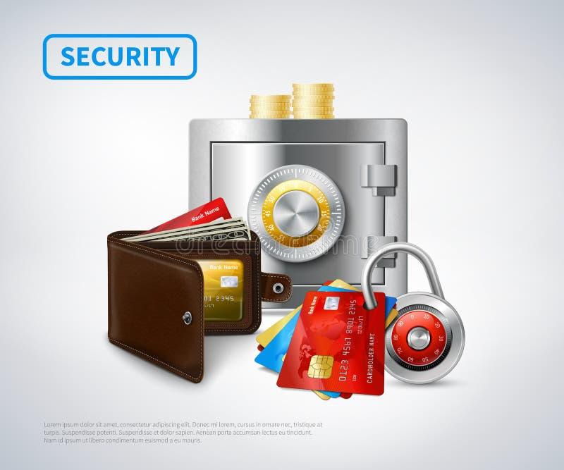 Ensemble réaliste de sécurité d'argent illustration de vecteur