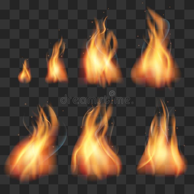Ensemble réaliste de vecteur de flammes de lutins d'animation du feu illustration libre de droits