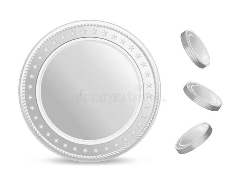 Ensemble réaliste de vecteur de pièces en argent Pièce de monnaie vide avec l'ombre Front View illustration libre de droits
