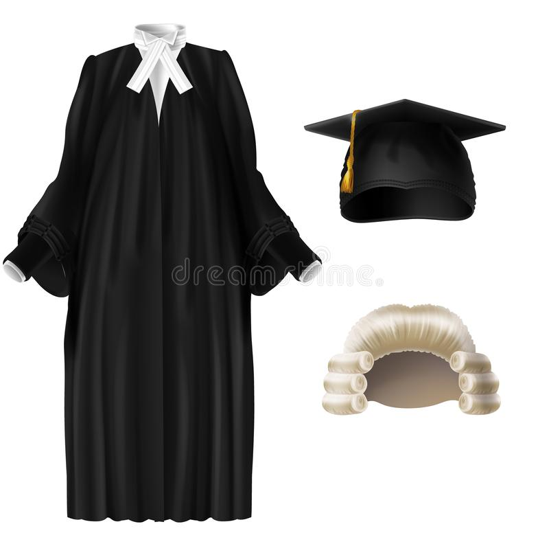 Ensemble réaliste de vecteur de juge et de habillage scolaire illustration de vecteur