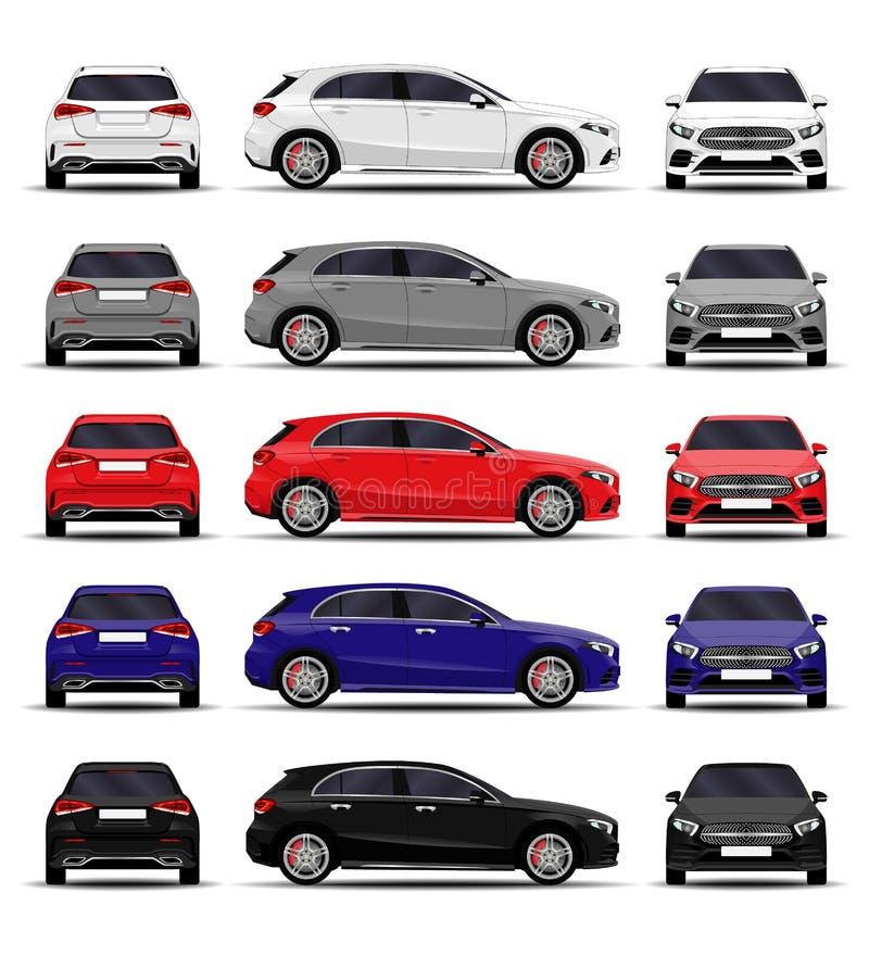Ensemble réaliste de voiture hatchback illustration libre de droits