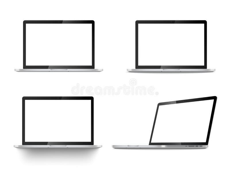 Ensemble réaliste de vue de face d'ordinateurs portables et de vecteur de position à angles d'isolement sur le blanc illustration libre de droits