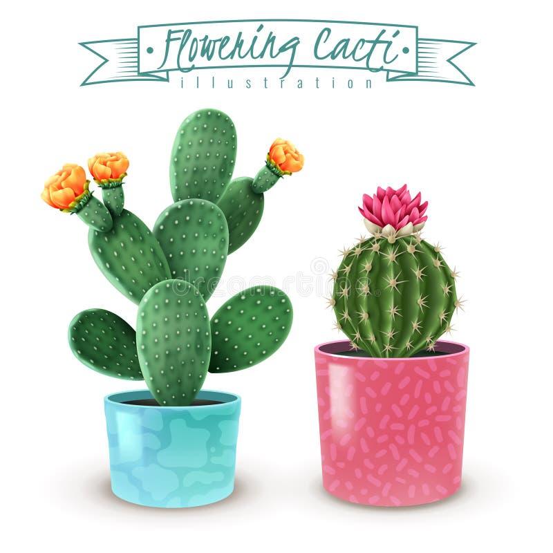 Ensemble réaliste fleurissant de cactus illustration stock