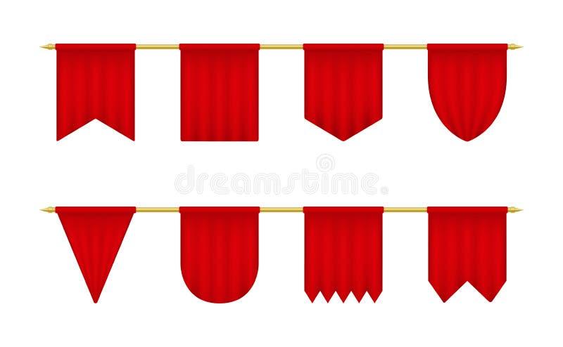 Ensemble réaliste rouge de fanion Calibre vide de bannières de triangle illustration de vecteur