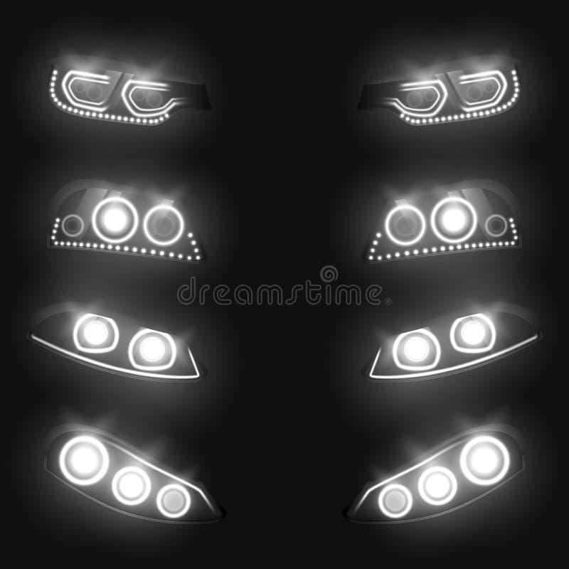 Ensemble réaliste rougeoyant de vecteur des phares 3d de voiture illustration de vecteur