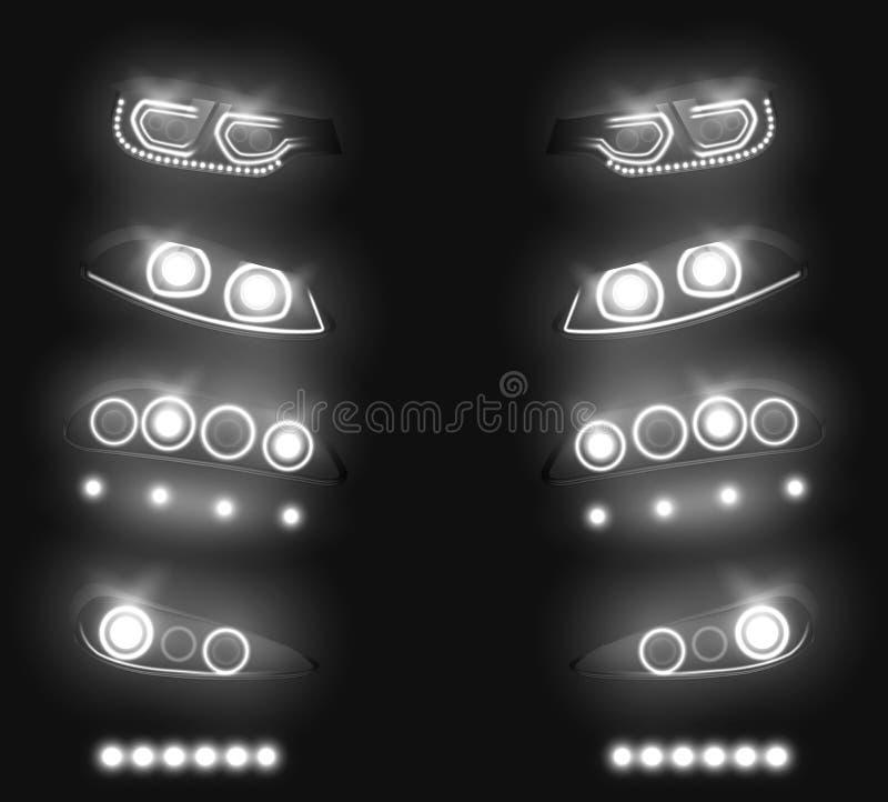 Ensemble réaliste rougeoyant de vecteur de phares d'automobile illustration de vecteur