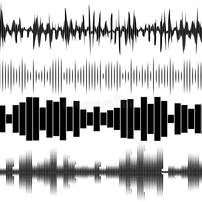 Ensemble réglé d'ondes sonores Technologie audio d'?galiseur illustration de vecteur
