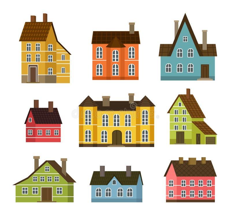 Ensemble résidentiel coloré de maison dans la conception plate illustration de vecteur