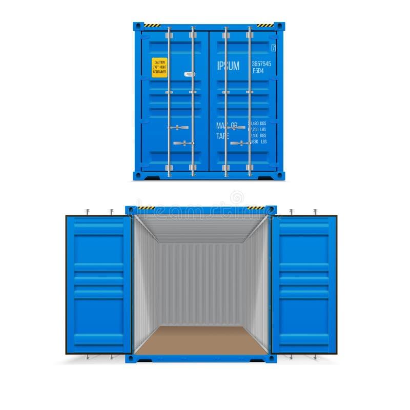 Ensemble r?aliste de conteneurs de cargaison bleus lumineux Ouvrez-vous et ferm? illustration libre de droits