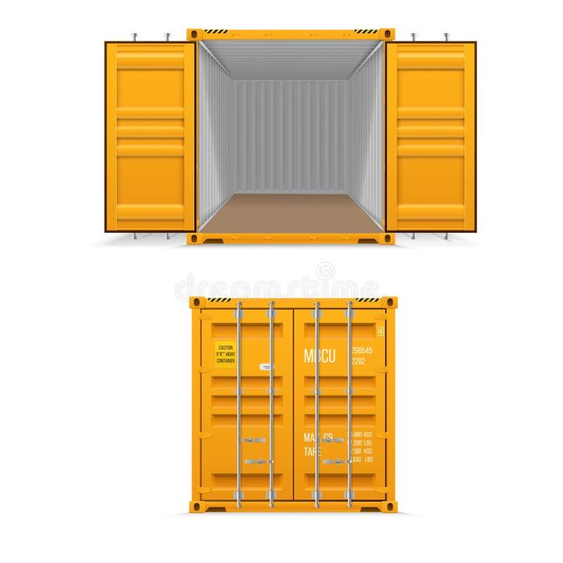 Ensemble r?aliste de conteneurs de cargaison jaunes lumineux Ouvrez-vous et ferm? La livraison, transport, transport de marchandi illustration libre de droits