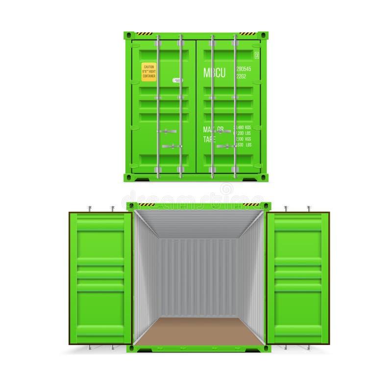 Ensemble r?aliste de conteneurs de cargaison vert clair Ouvrez-vous et ferm? illustration de vecteur