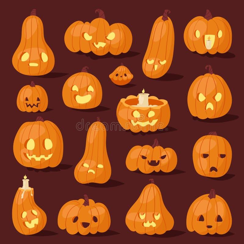 Ensemble rampant d'illustration de vecteur de tête de visage de potiron de Halloween illustration stock