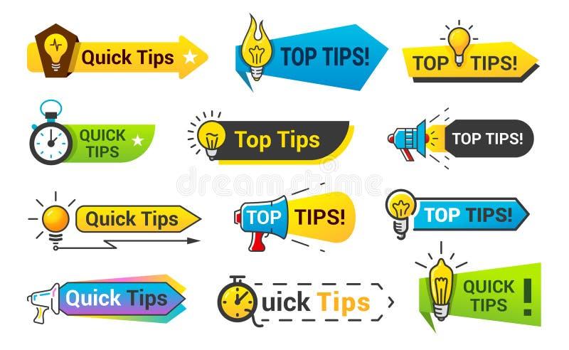 Ensemble rapide d'icône d'astuces, conception de bannière de l'information illustration stock