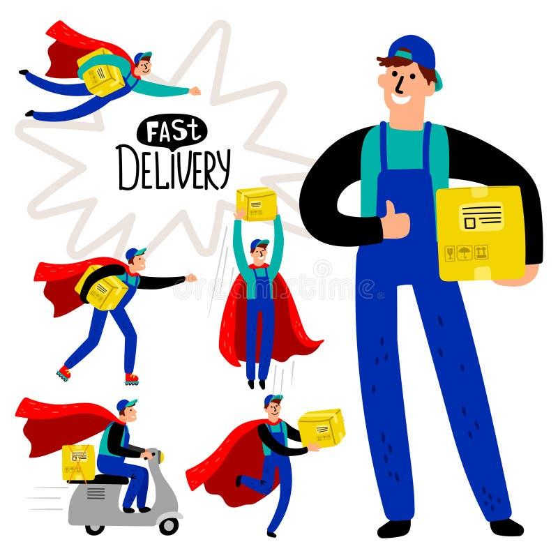 Ensemble rapide de messager de la livraison illustration stock