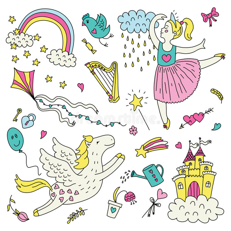 Ensemble romantique illustration stock