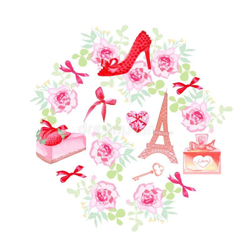 Ensemble romantique de conception de vecteur de Paris illustration libre de droits