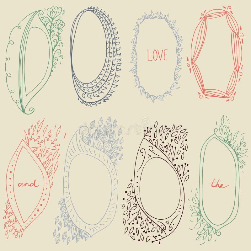 Ensemble romantique de vecteur de frontières florales de cercle illustration de vecteur
