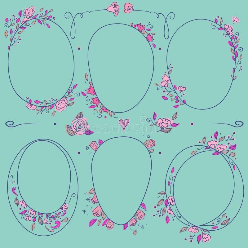 Ensemble romantique de vecteur de frontières florales de cercle illustration libre de droits