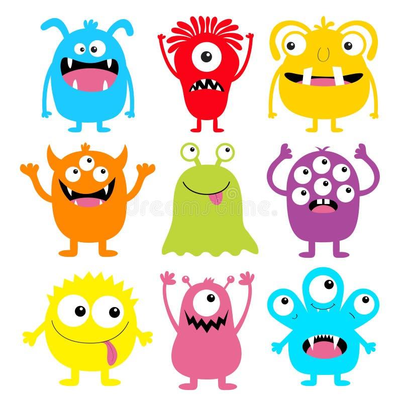Ensemble rond coloré d'icône de silhouette de monstre Yeux, langue, croc de dent, mains  Caractère drôle effrayant de bébé de kaw illustration stock