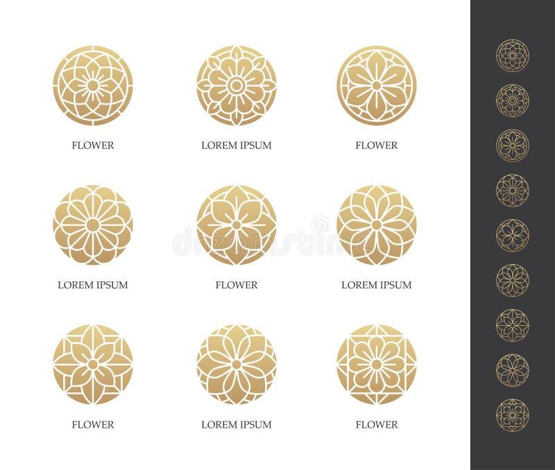 Ensemble rond d'or de logo de fleur illustration de vecteur