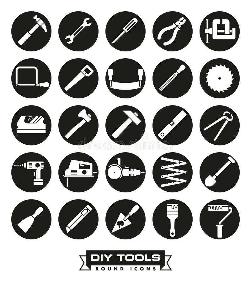 Ensemble rond d'icône d'outils de Carafting illustration de vecteur