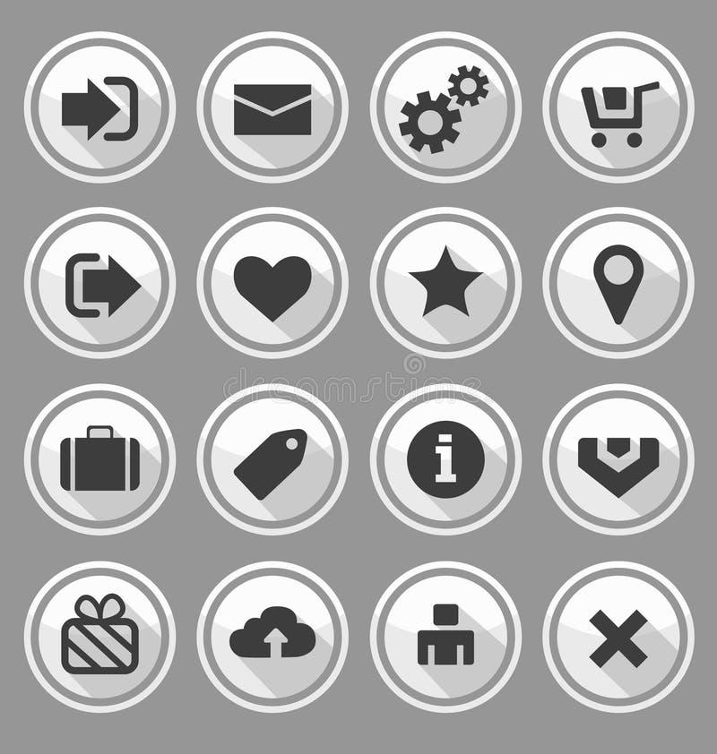 Ensemble rond de blanc de boutons de web design illustration stock