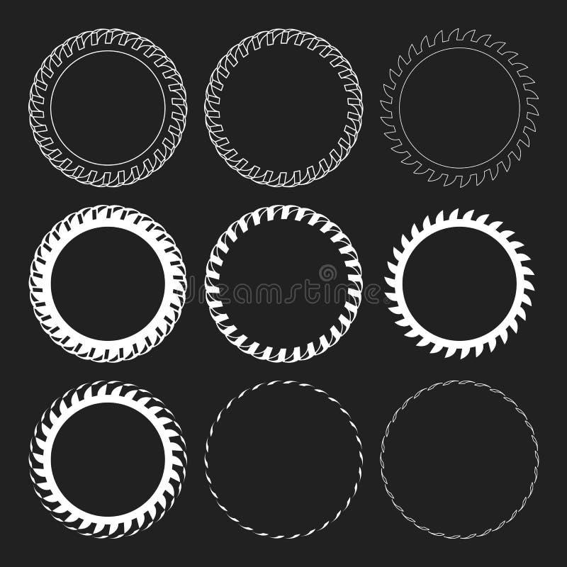 Ensemble rond de cadre de frontière de vecteur de voie de pneu Recouvrement Logo Design Frame illustration stock