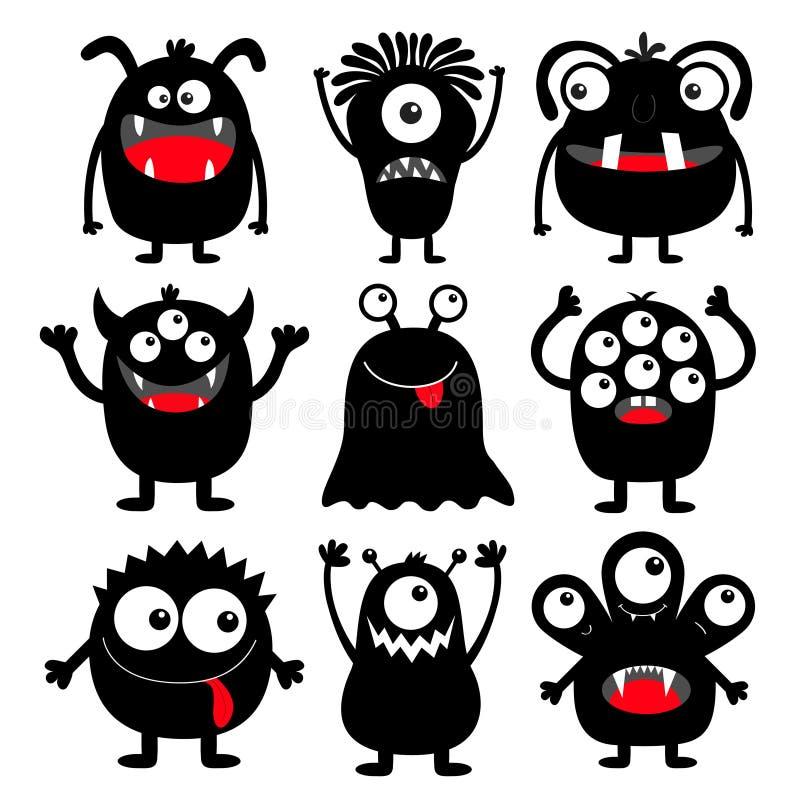 Ensemble rond noir d'icône de silhouette de monstre Yeux, langue, croc de dent, mains  Caractère drôle effrayant de bébé de kawai illustration libre de droits
