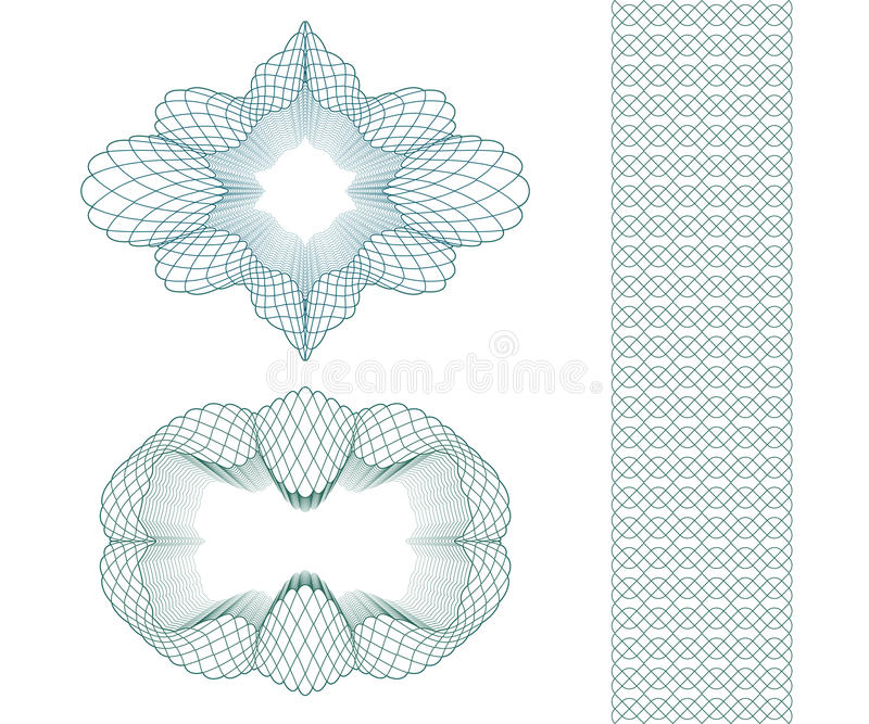 Ensemble : Rosette et frontière de modèle de guilloche d'ellipse pour le certificat ou le diplôme, d'isolement Illustration de ve illustration de vecteur