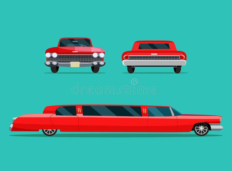 Ensemble rouge d'angle de la limousine deux Vue de côté de voiture, vue arrière et vue de face illustration stock