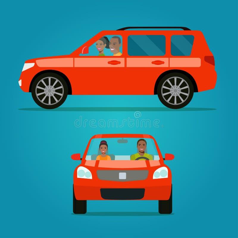 Ensemble rouge d'angle de la voiture deux Voiture avec la vue de côté de couples et la vue de face Couples afro-américains dans l illustration libre de droits