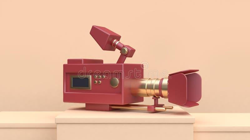 ensemble rouge d'or de caméra de film-cinéma du rendu 3d sur la scène crème illustration libre de droits