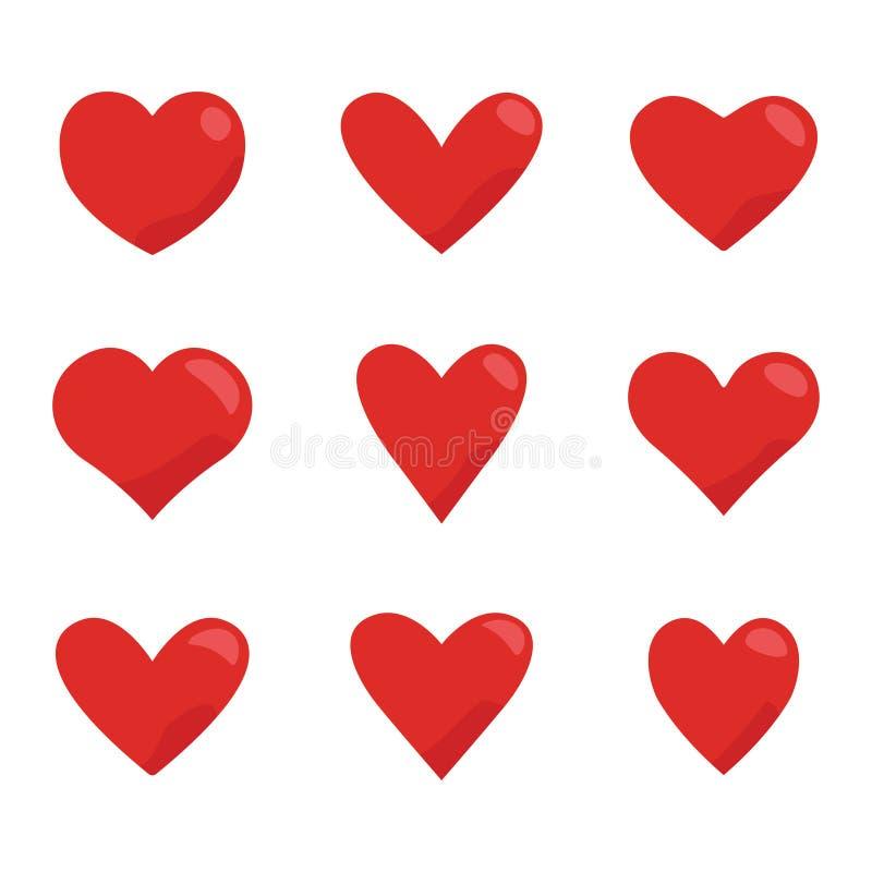 Ensemble rouge d'icône de coeurs Vecteur de symbole d'amour illustration stock
