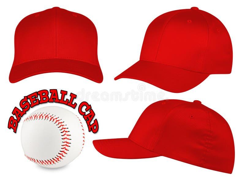 Ensemble rouge de casquette de baseball image stock