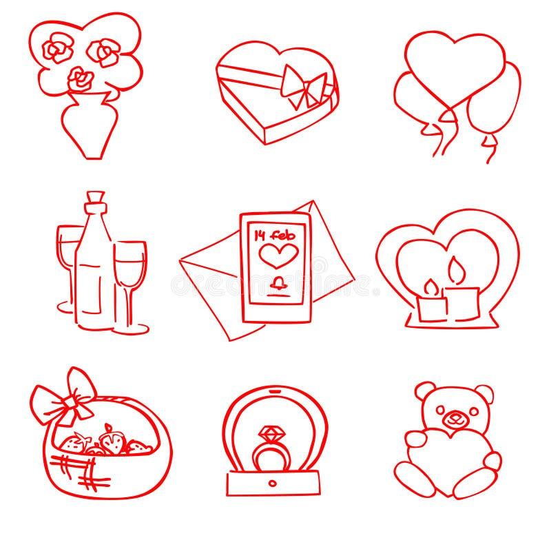 Ensemble rouge de jour de valentines de vecteur de bande dessinée mignonne illustration libre de droits