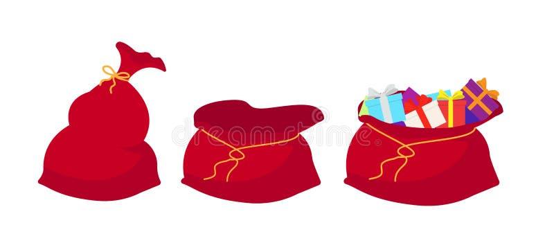 Ensemble rouge de Santa Claus de sac Grandes vacances de sac pour des cadeaux Grand sac plein pour la nouvelle année et le Noël illustration libre de droits