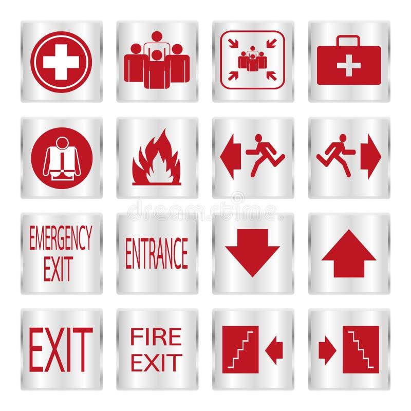 Ensemble rouge métallique de signe de sécurité illustration stock