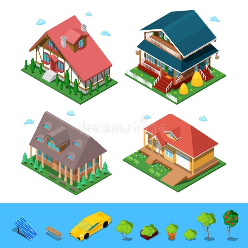 Ensemble rural isométrique de Chambre de bâtiment de cottage Architecture 3d privée plate illustration libre de droits