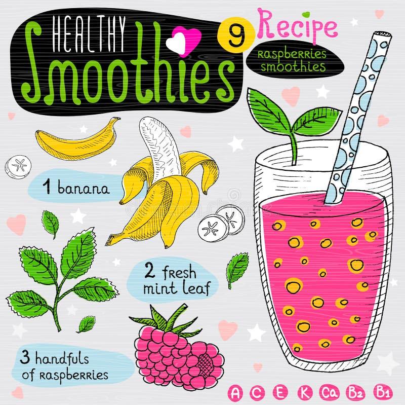 Ensemble sain de recette de smoothie illustration stock