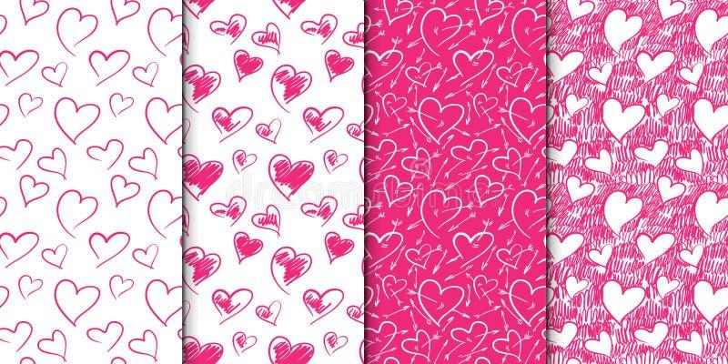 Ensemble sans couture abstrait de modèle de coeur Illustration tirée par la main Rose et blanc Ensemble de répéter des milieux av illustration stock