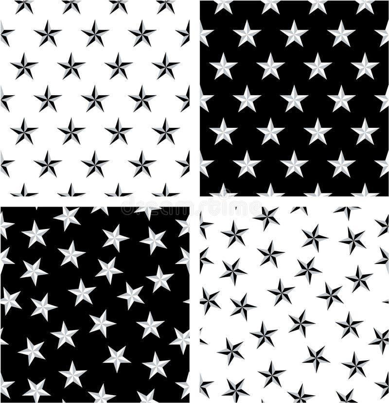 Ensemble sans couture aligné et aléatoire d'étoile nautique de couleur argentée et noire de modèle illustration libre de droits