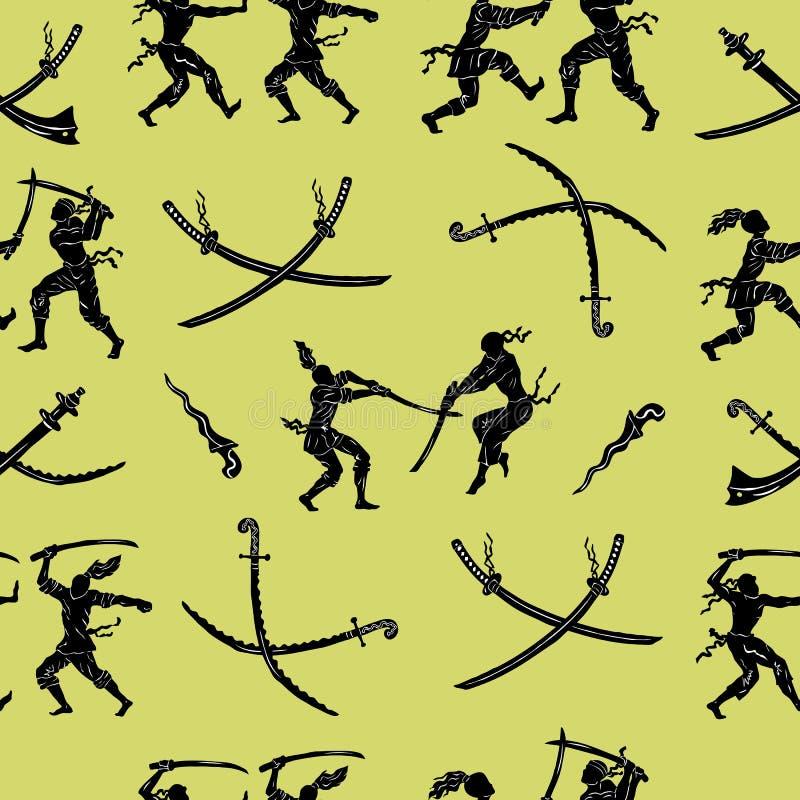 Ensemble sans couture avec des guerriers et des épées illustration stock