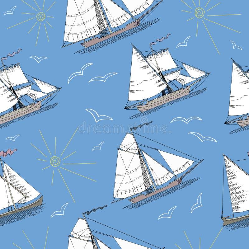Ensemble sans couture avec les bateaux, le soleil et les oiseaux illustration stock