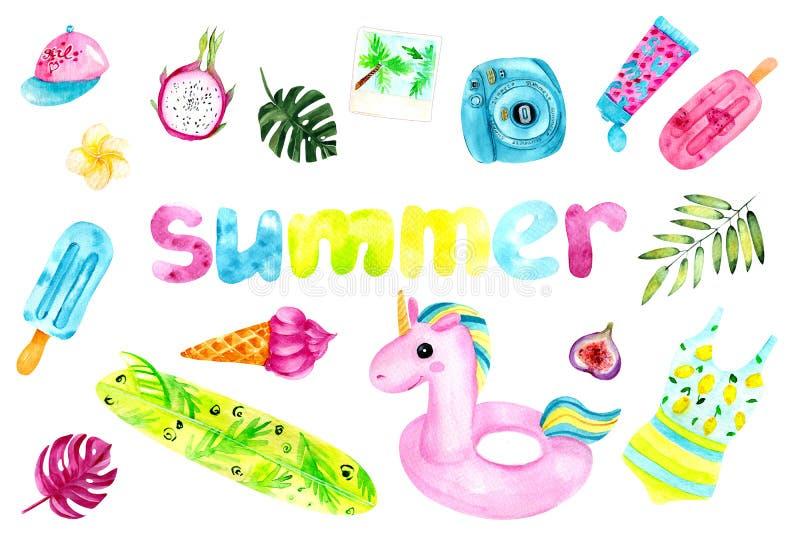 Ensemble sans couture coloré d'été d'aquarelle Objets d'isolement sur le fond blanc illustration libre de droits