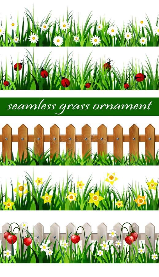 Download Ensemble Sans Couture D'herbe Verte Image stock - Image du jonquille, coccinelles: 87701361